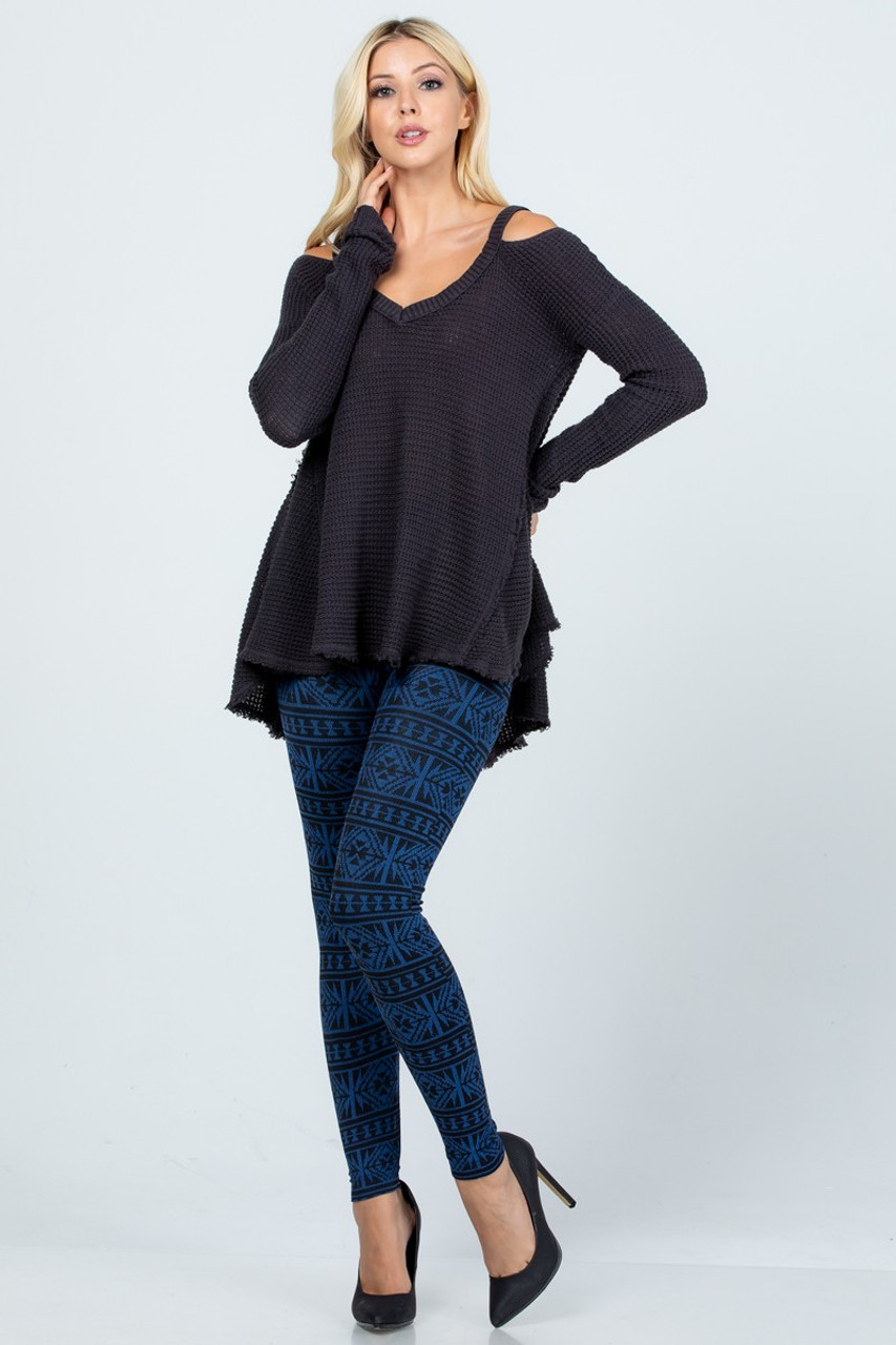 Modeled front view image of Blue Winter Snowflake Fleece Lined Leggings