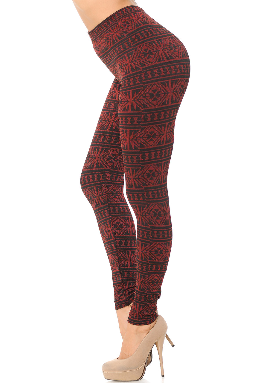 Left side image view of red Winter Snowflake Fleece Lined Leggings