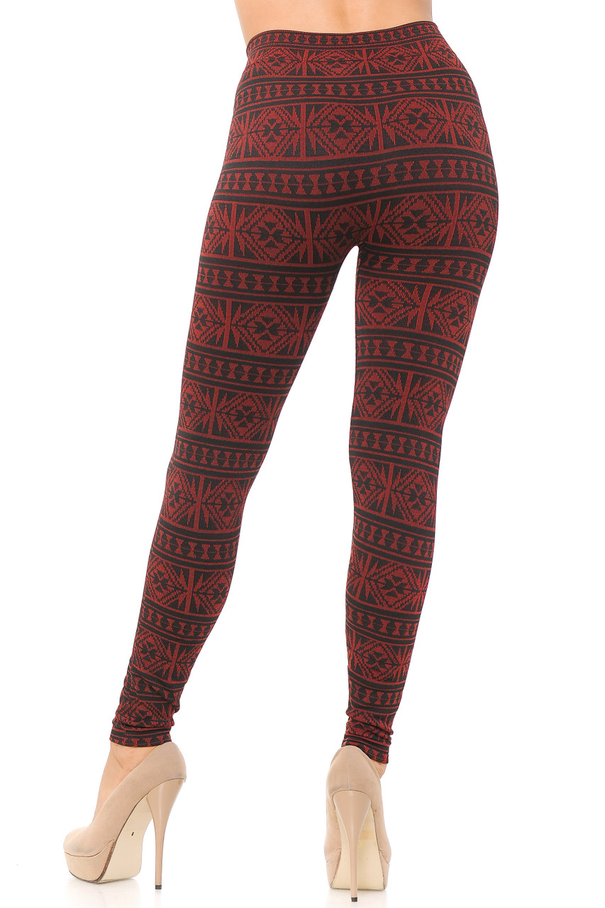 Back view image of Red Winter Snowflake Fleece Lined Leggings