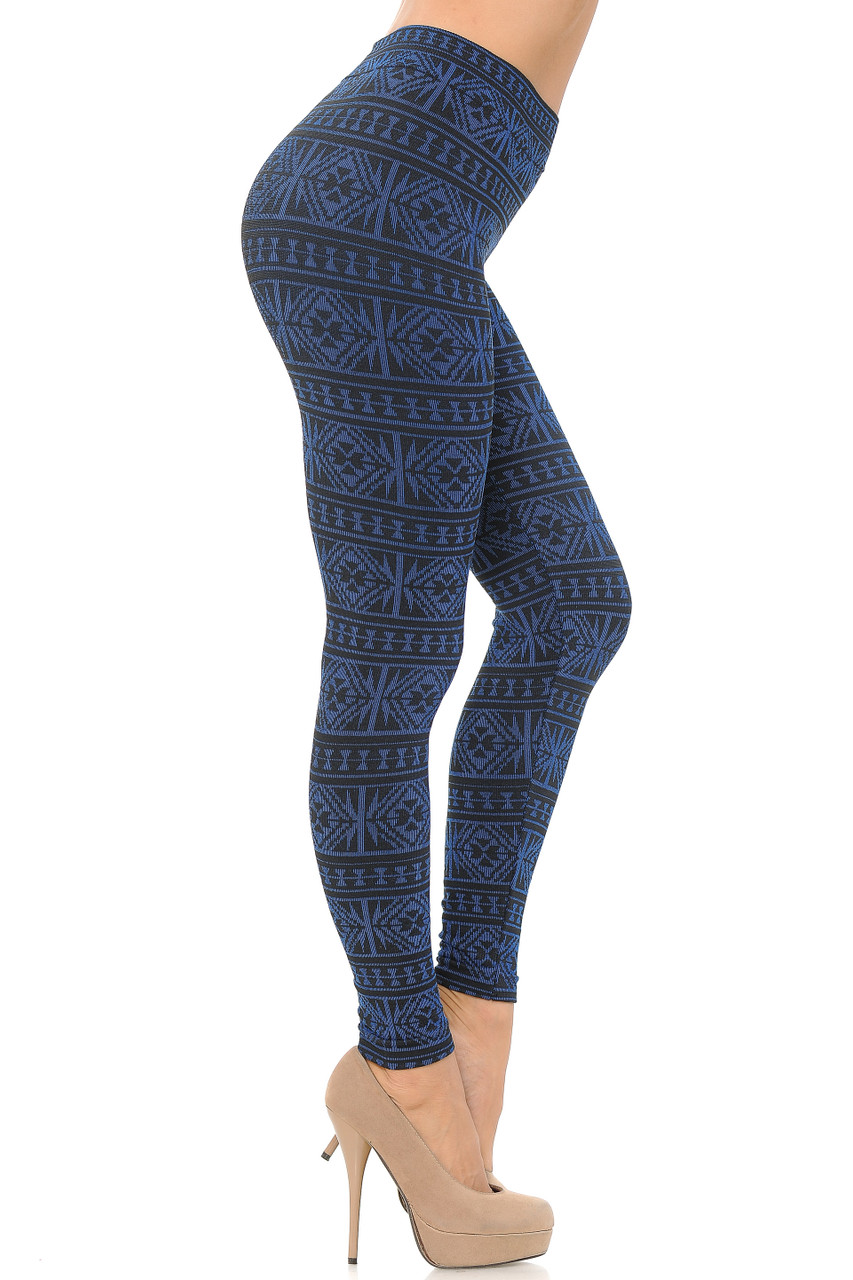 Right side image view of blue Winter Snowflake Fleece Lined Leggings