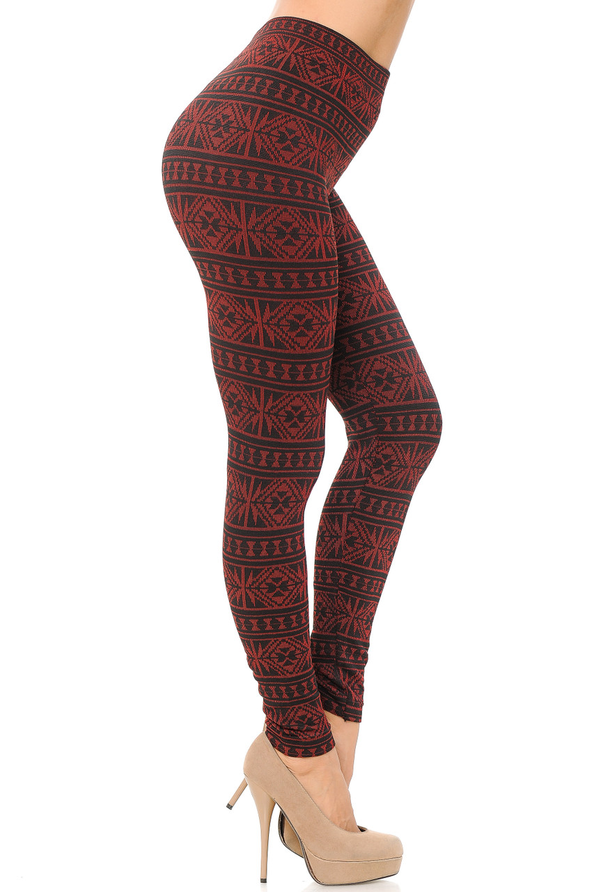 Right side red image view of Red Winter Snowflake Fleece Lined Leggings
