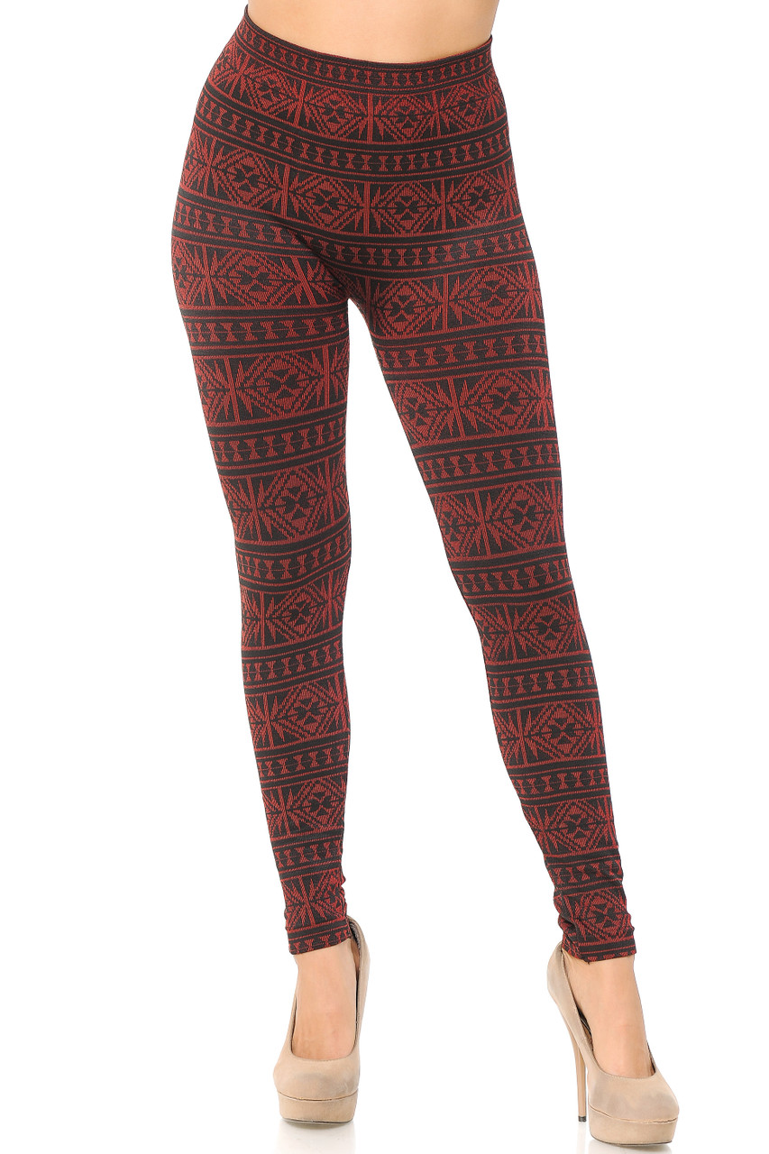 Front view image of Red Winter Snowflake Fleece Lined Leggings