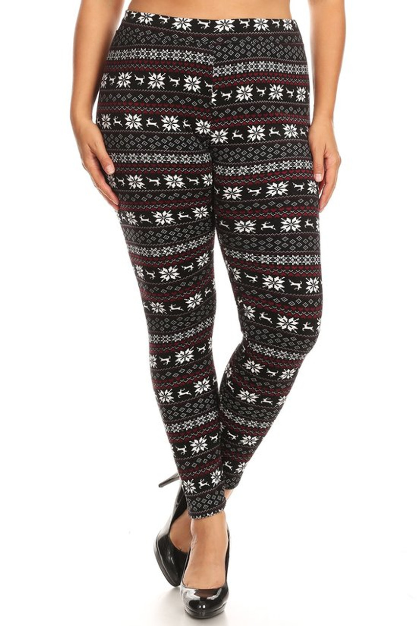 Front view image of our festive Snowflakes and Reindeer Plus Size Fur Lined Leggings featuring a banded knit Christmas sweater inspired design in a black, white, and burgundy color scheme.