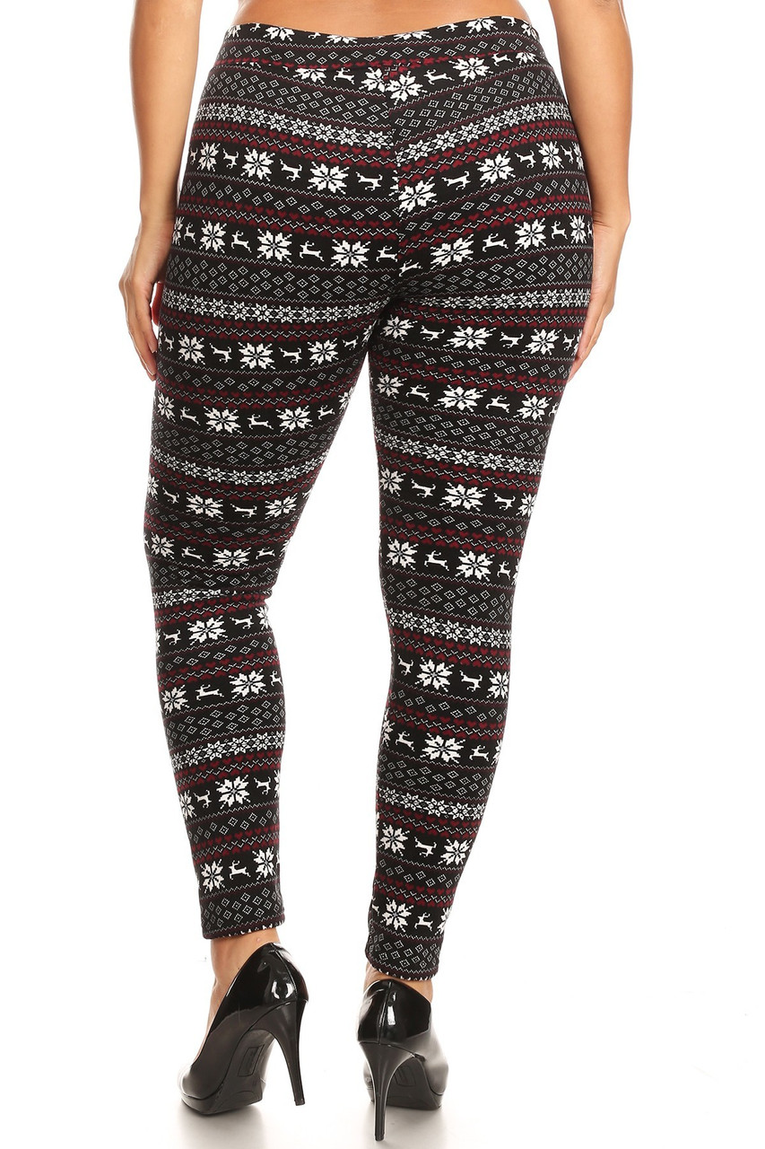 Back view image of our flattering body-hugging Snowflakes and Reindeer Plus Size Fur Lined Leggings