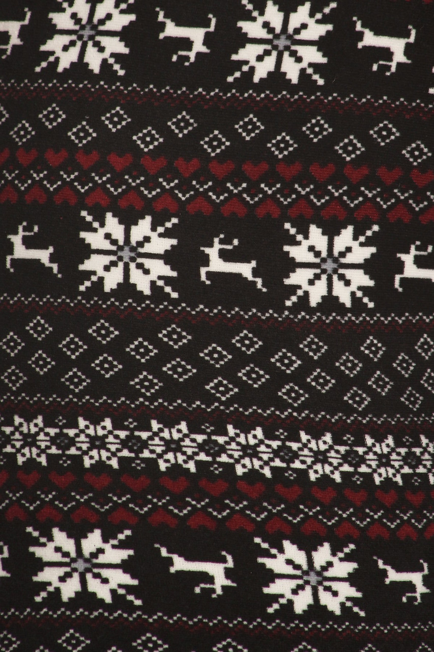 Close up fabric swatch image of Snowflakes and Reindeer Plus Size Fur Lined Leggings