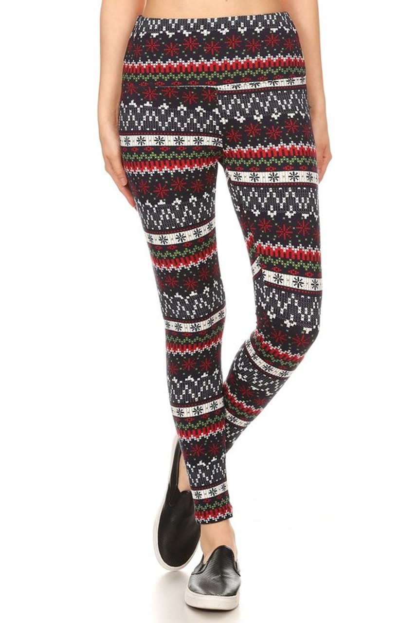 Front view image of Burgundy Snowflakes High Waisted Fleece Lined Leggings featuring a banded knit Christmas sweater inspired design in a black, green, red, and white color scheme.