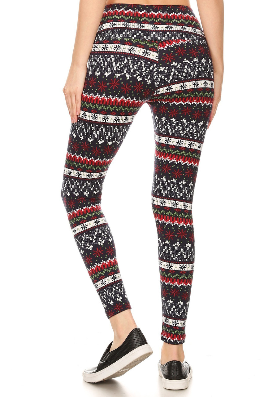 Back view image of our form fitting Burgundy Snowflakes High Waisted Fleece Lined Leggings