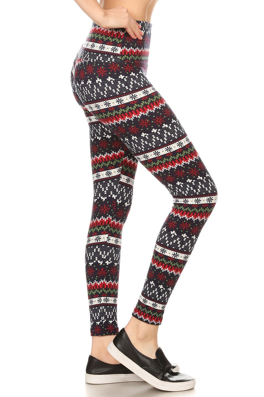 Right side view image of Burgundy Snowflakes High Waisted Fleece Lined Leggings