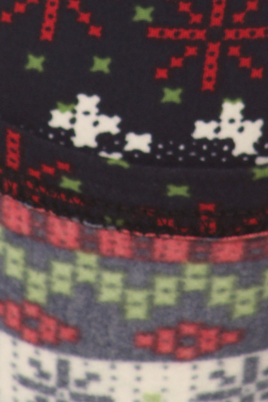 Close up image swatch of Burgundy Snowflakes High Waisted Fleece Lined Leggings