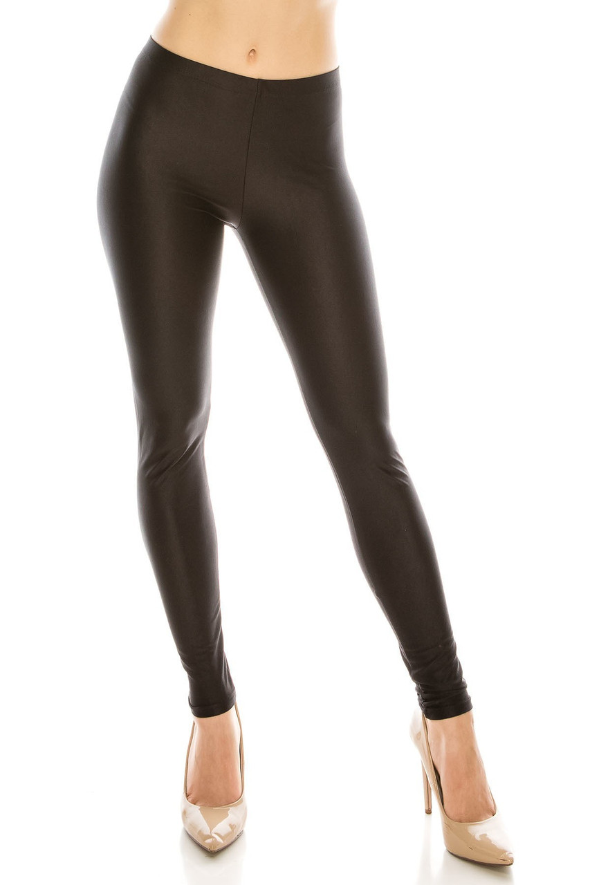 Front view image of our Black Premium Shiny Stretch Leggings with a sleek and sexy look.
