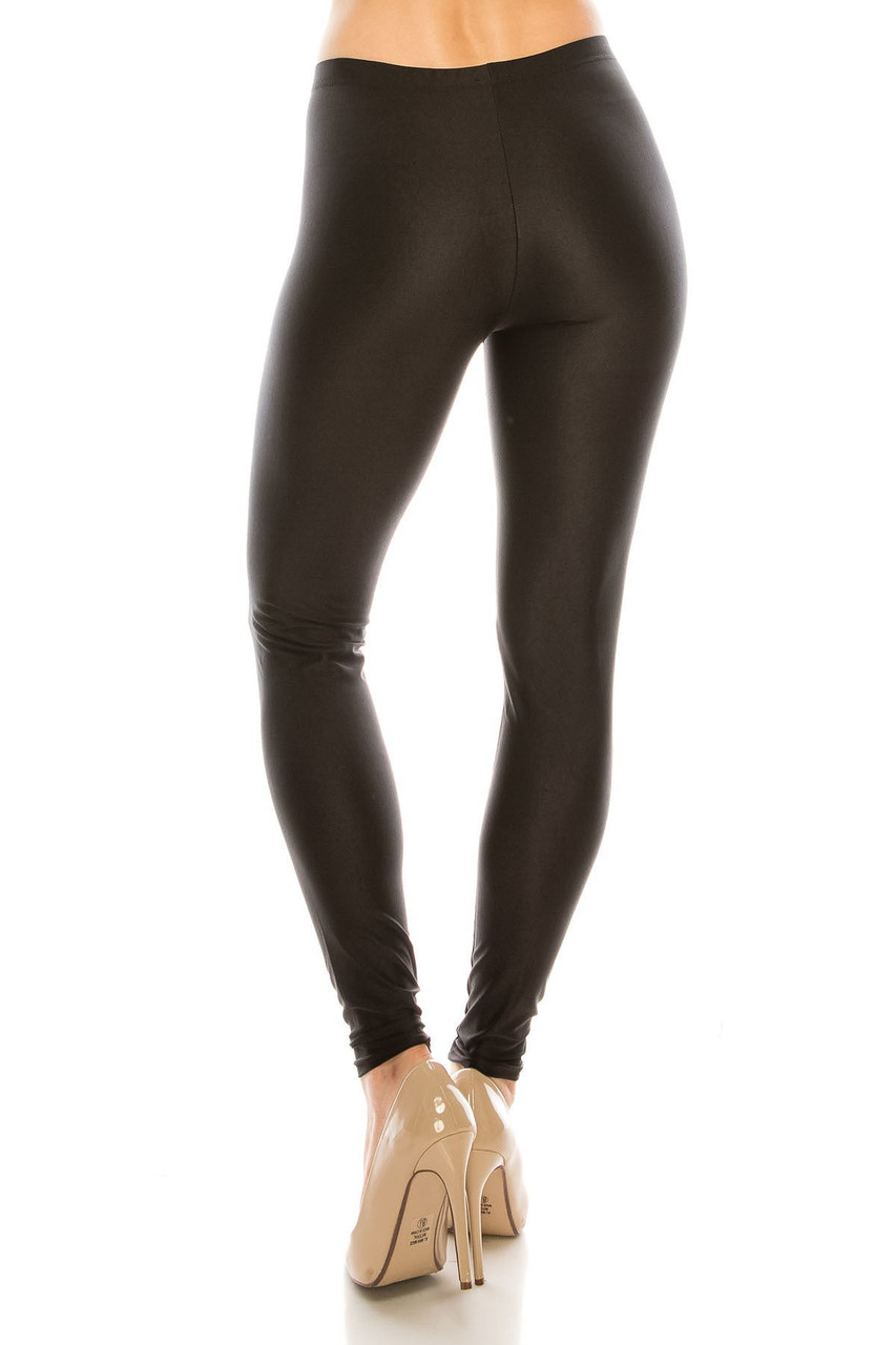 Rear view image of our Black Premium Shiny Stretch Leggings with a form flattering body hugging fit.