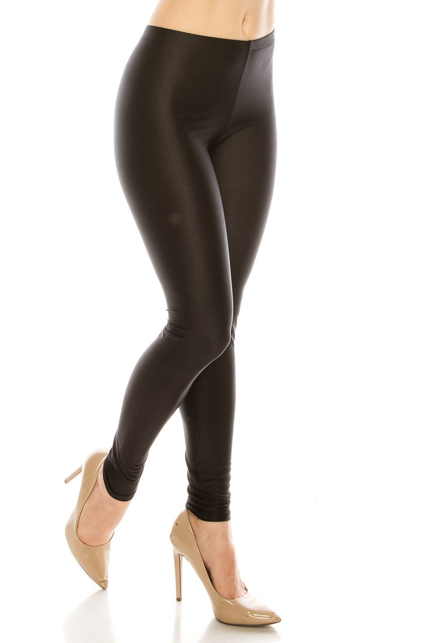Right side view image of Premium Shiny Stretch Leggings