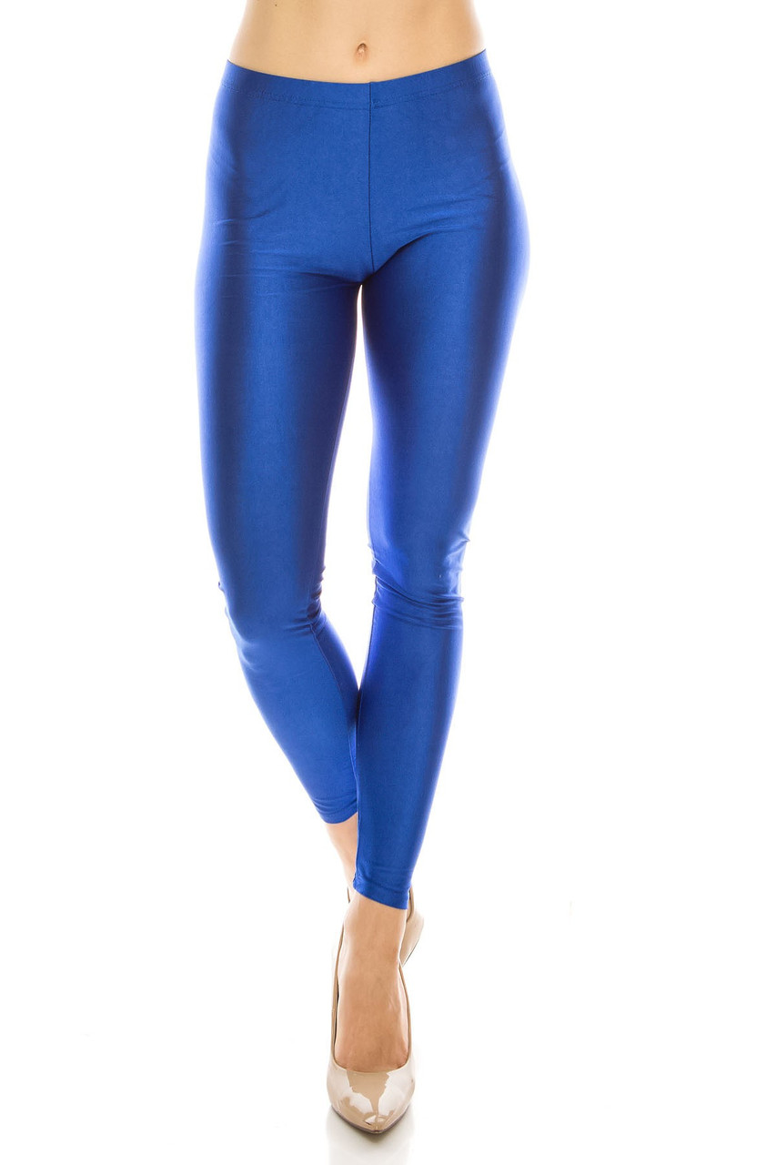 Front view image of Blue  Premium Shiny Stretch Leggings