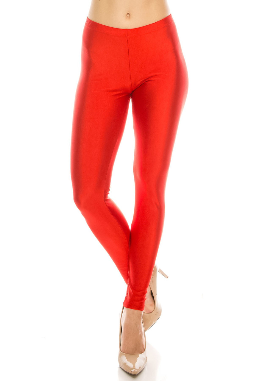 Front view image of Red Premium Shiny Stretch Leggings