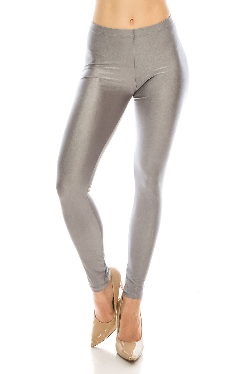 Front view image of Silver Premium Shiny Stretch Leggings