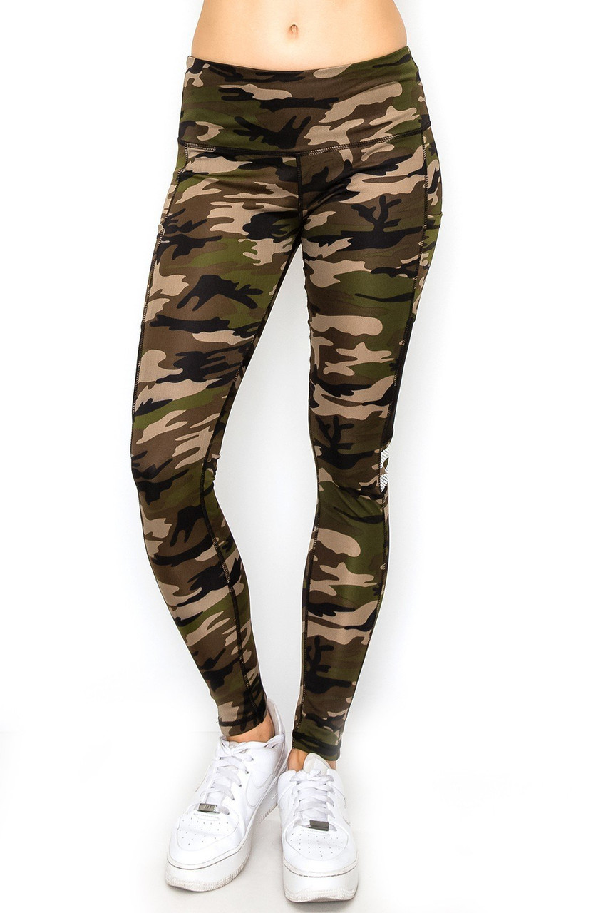 Front view image of Camouflage Mesh High Waisted Sport Leggings with Side Pocket with a comfort fabric waistband.