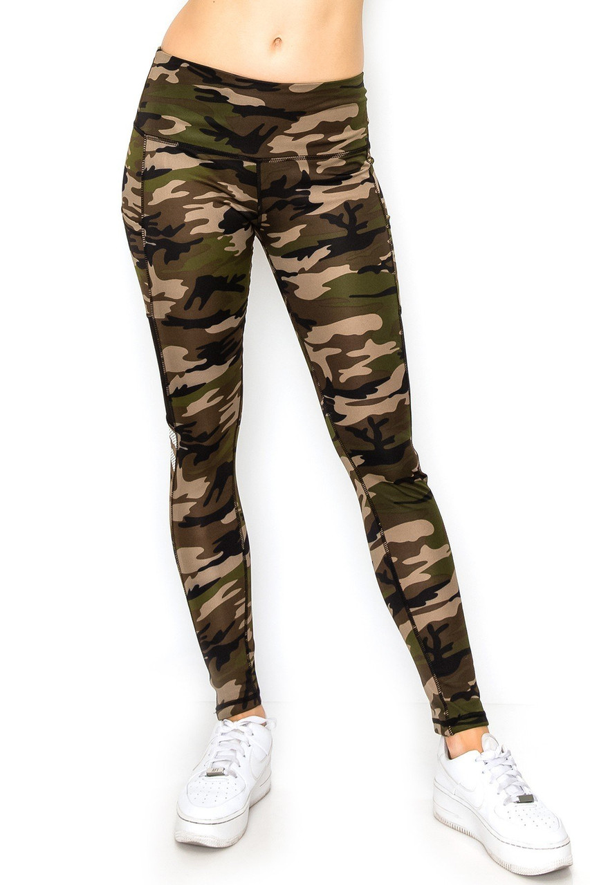 Front view image of our sporty Camouflage Mesh High Waisted Sport Leggings with Side Pocket