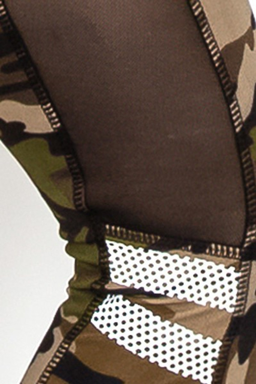 Close up image showing mesh panels on Camouflage Mesh High Waisted Sport Leggings with Side Pocket