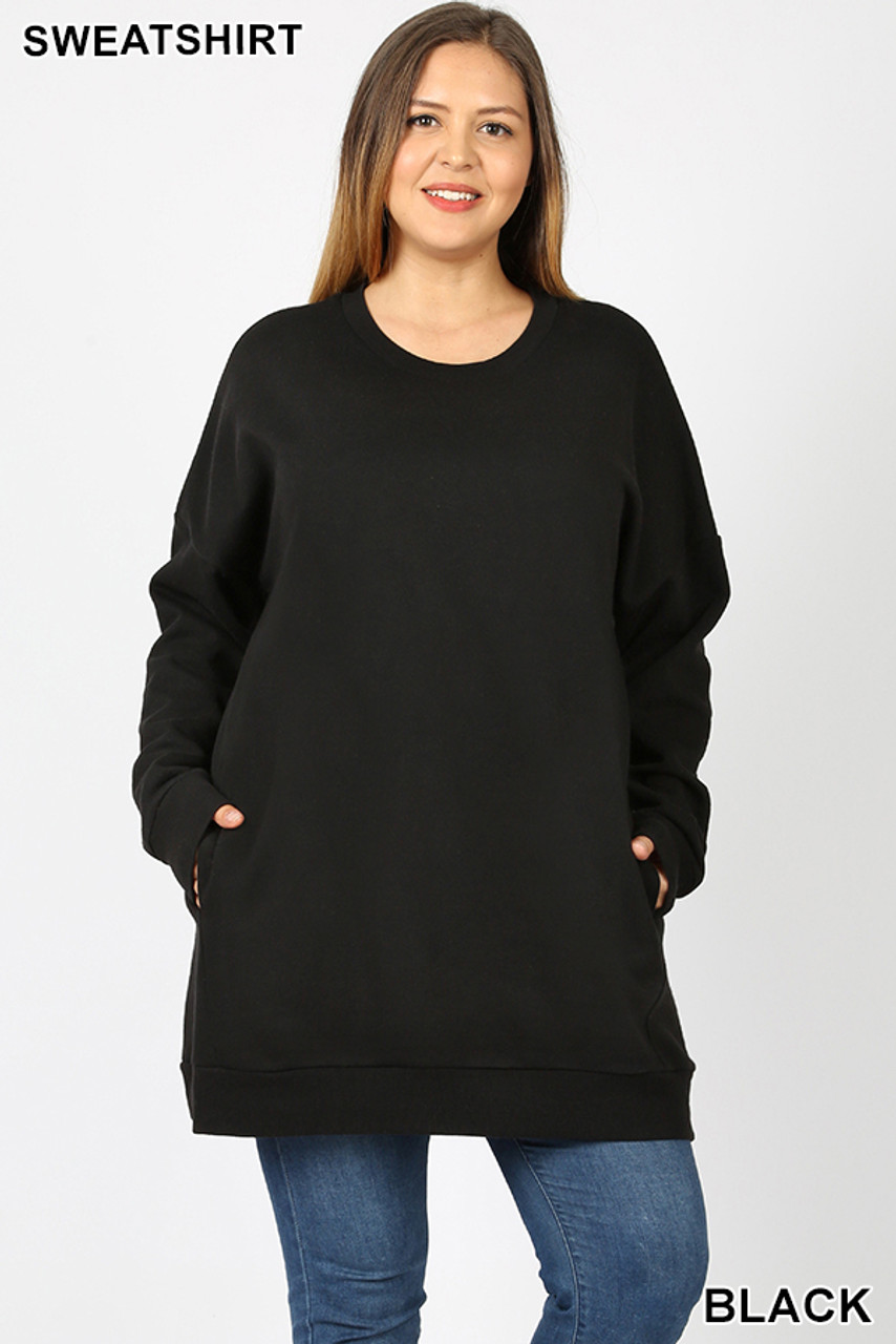 Front view image of Black Oversized Round-Neck Plus Size Fleece Lined Sweatshirt with Pockets