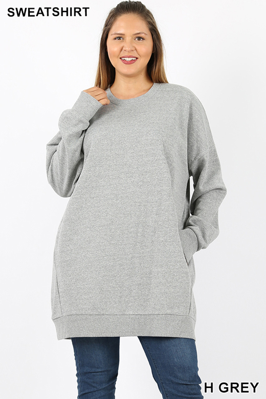 Front view image of Heather Grey Oversized Round-Neck Plus Size Fleece Lined Sweatshirt with Pockets