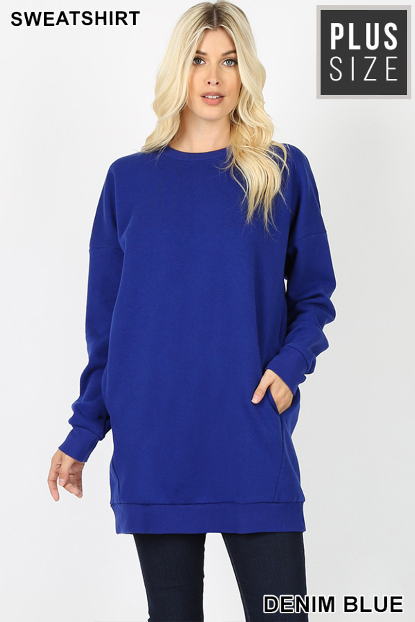 Front view image of Denim Blue Oversized Round-Neck Plus Size Fleece Lined Sweatshirt with Pockets
