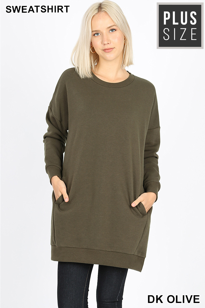 Front view image of Dark Olive Oversized Round-Neck Plus Size Fleece Lined Sweatshirt with Pockets