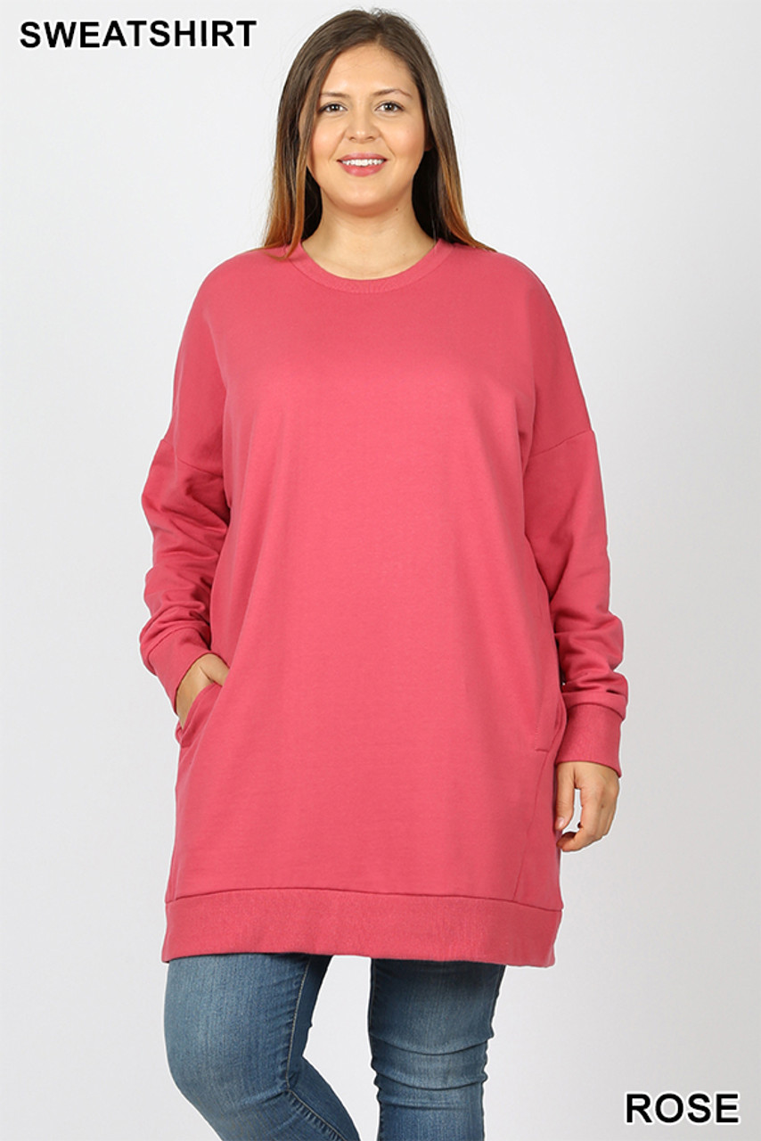 Front view image of Rose Oversized Round-Neck Plus Size Fleece Lined Sweatshirt with Pockets