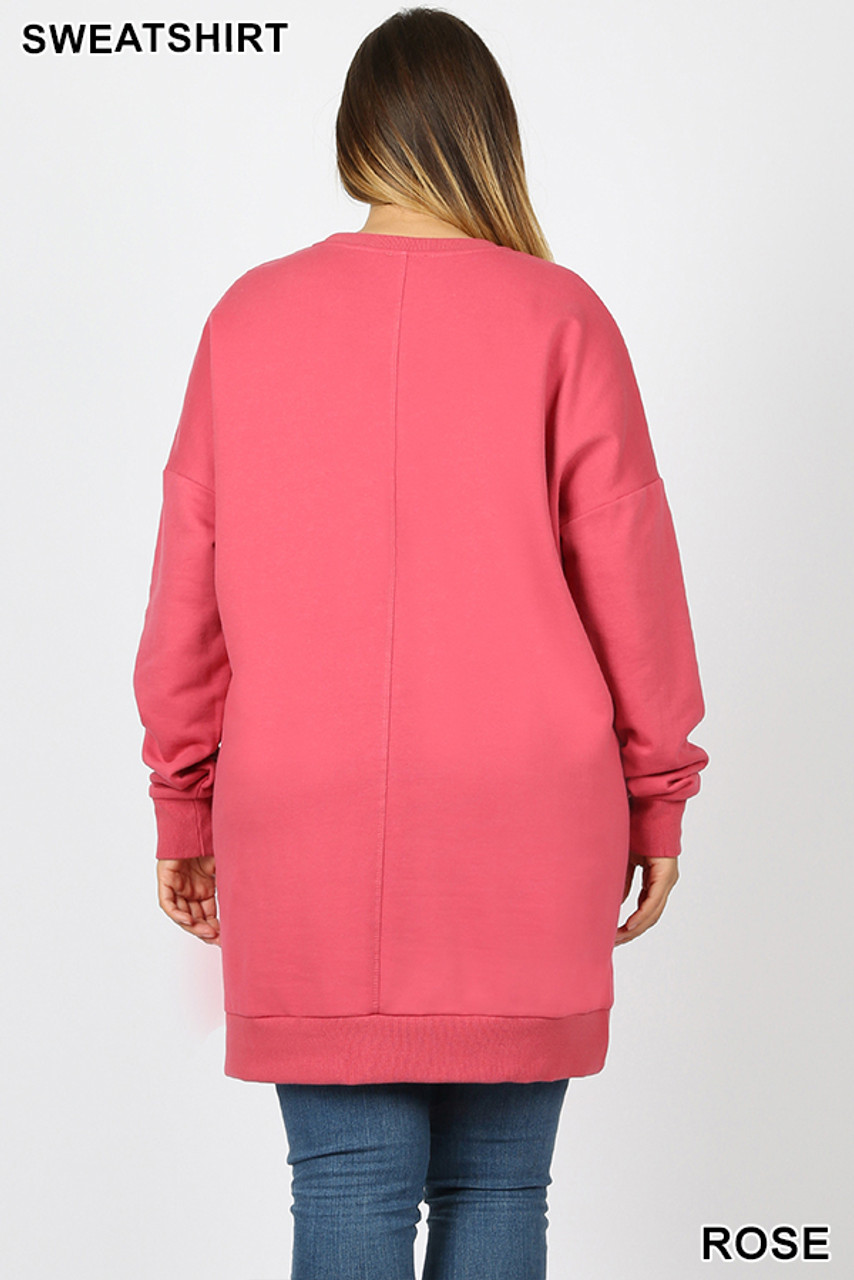 Back view image of Rose Oversized Round-Neck Plus Size Fleece Lined Sweatshirt with Pockets