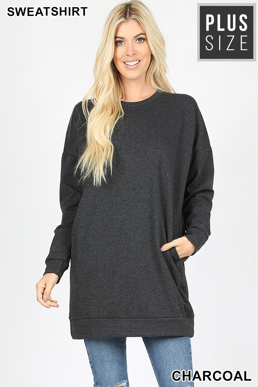 Front view image of charcoal Oversized Round-Neck Plus Size Fleece Lined Sweatshirt with Pockets