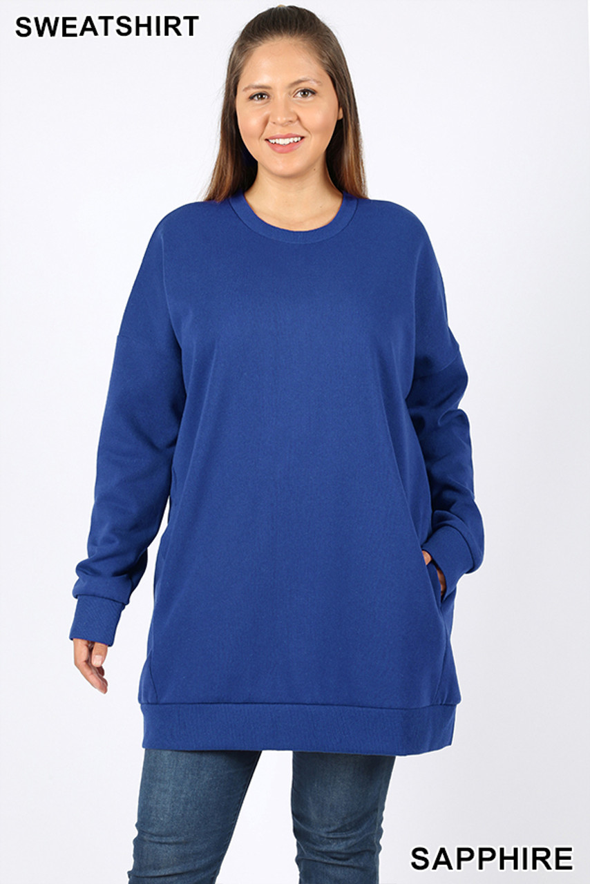 Front view image of Sapphire Oversized Round-Neck Plus Size Fleece Lined Sweatshirt with Pockets