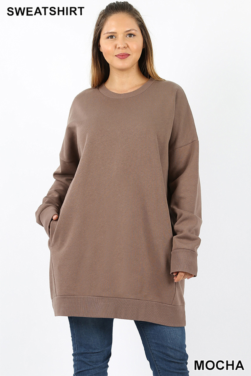 Front view image of Mocha Oversized Round-Neck Plus Size Fleece Lined Sweatshirt with Pockets