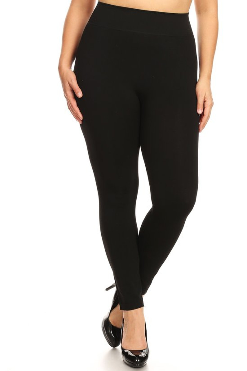 Front view image of our solid and sleek Premium Basic Plus Size High Waisted Leggings