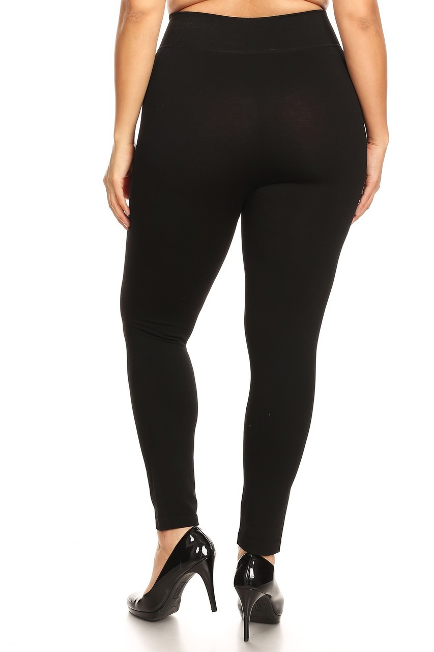 Back view of our form flattering body hugging Premium Basic Plus Size High Waisted Leggings