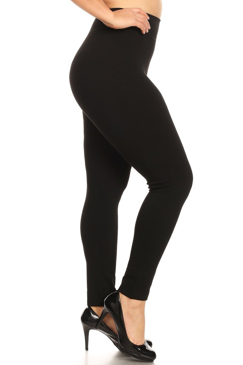 Right side view image of Premium Basic Plus Size High Waisted Leggings