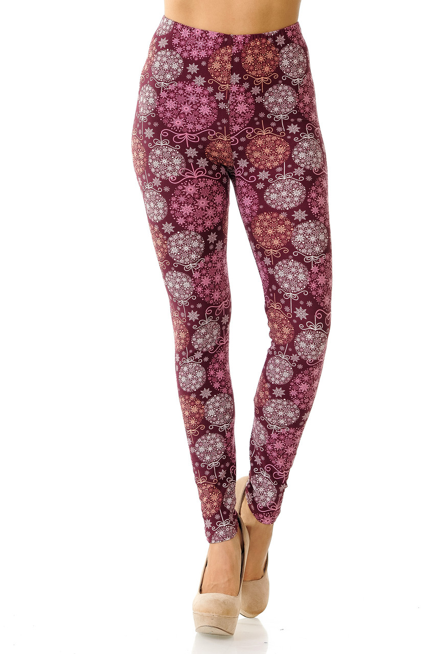 Front view of our full length skinny leg cut Buttery Soft Festive Snowflake Ornaments Leggings with a lovely design perfect for casual and dressy holiday outfits.