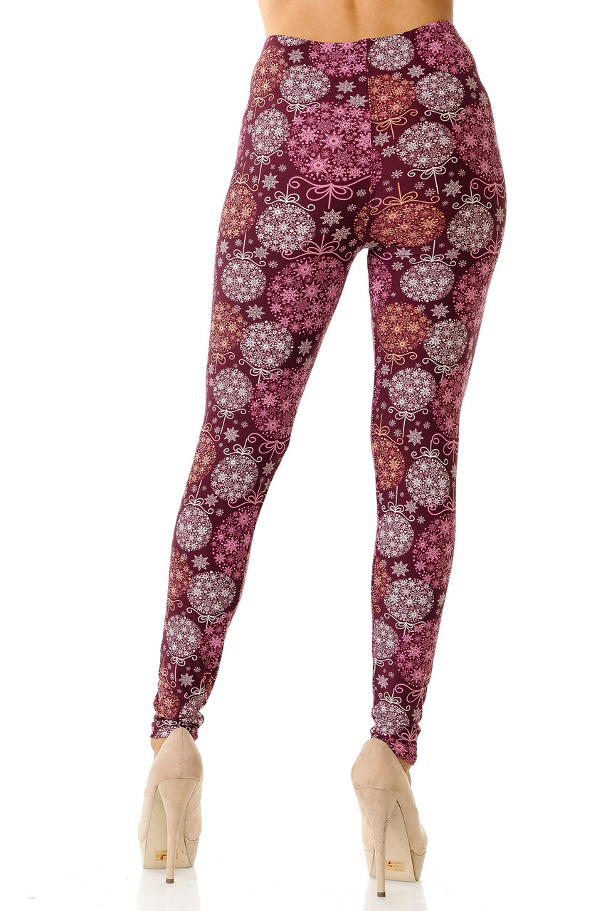 Back view image of Buttery Soft Festive Snowflake Ornaments Leggings