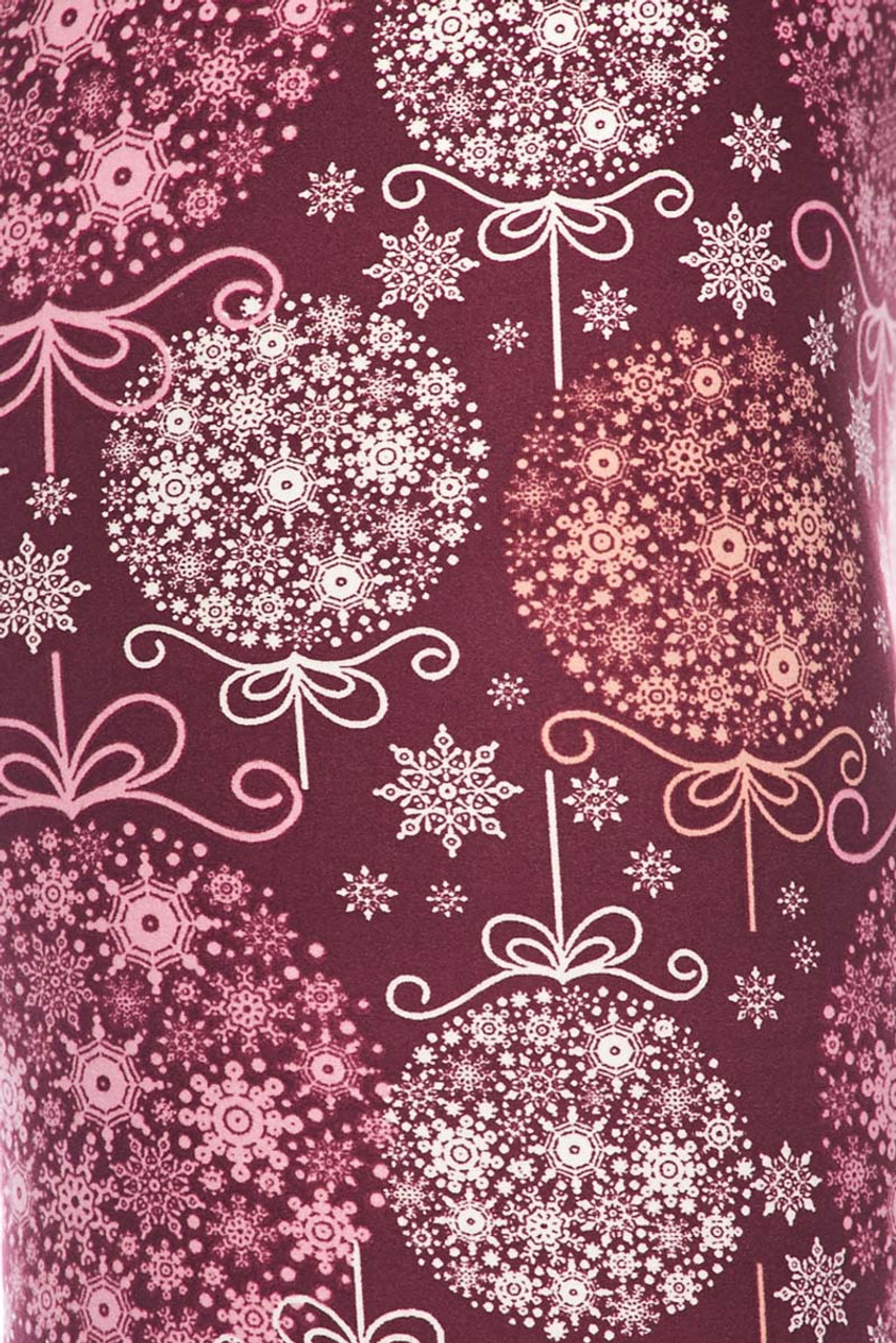 Close up image swatch of Buttery Soft Pink Snowflake Ornaments Leggings