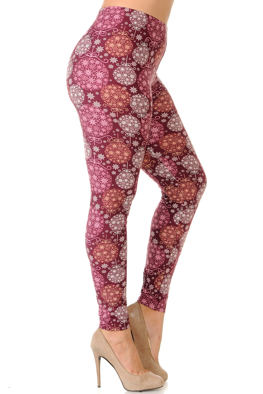 Right side view image of Buttery Soft Festive Snowflake Ornaments Plus Size Leggings