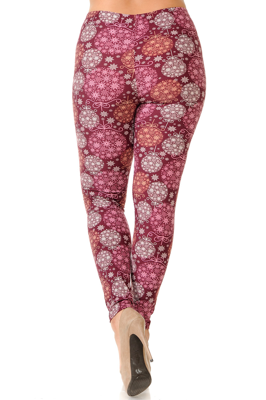 Back view of our flattering body-hugging Buttery Soft Festive Snowflake Ornaments Extra Plus Size Leggings - 3X-5X