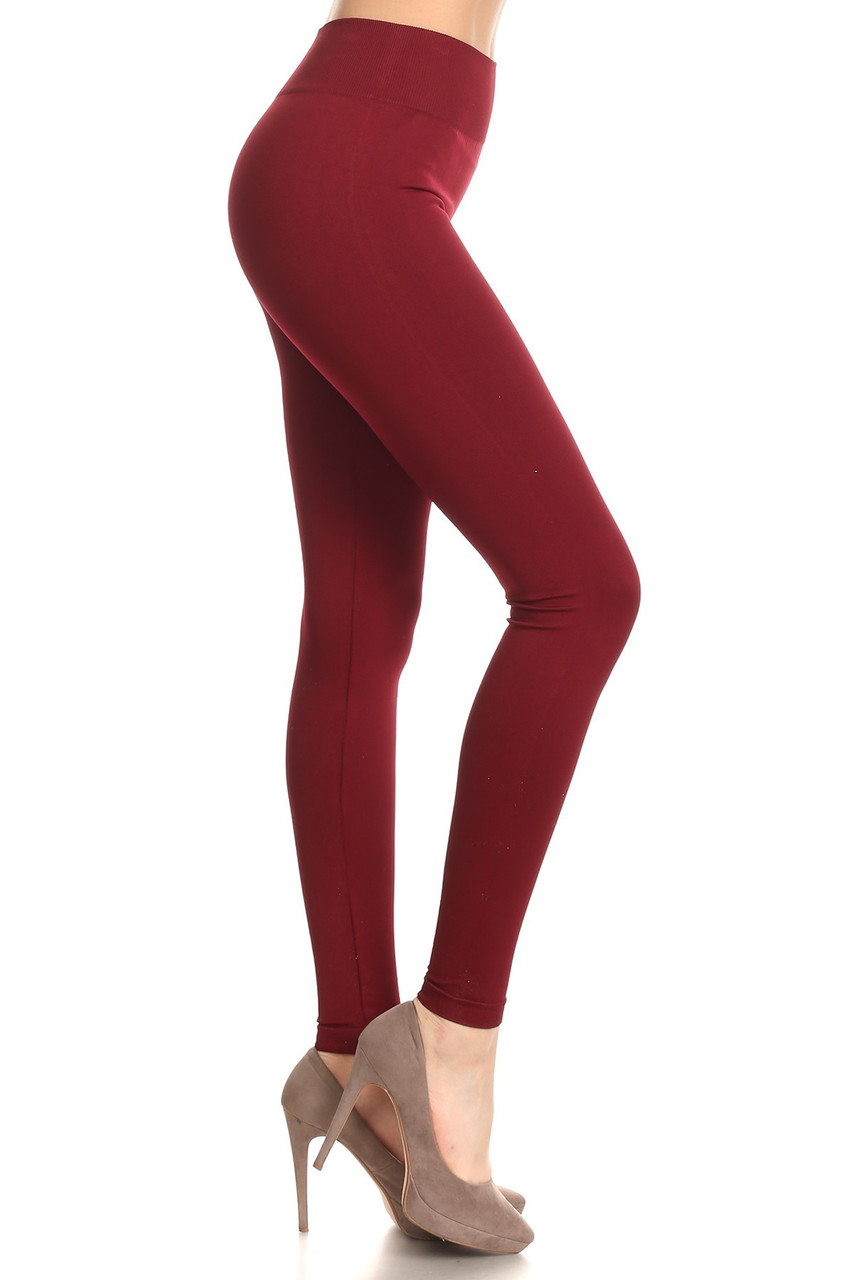 Right side view image of Burgundy Extra Thick Solid Basic Leggings