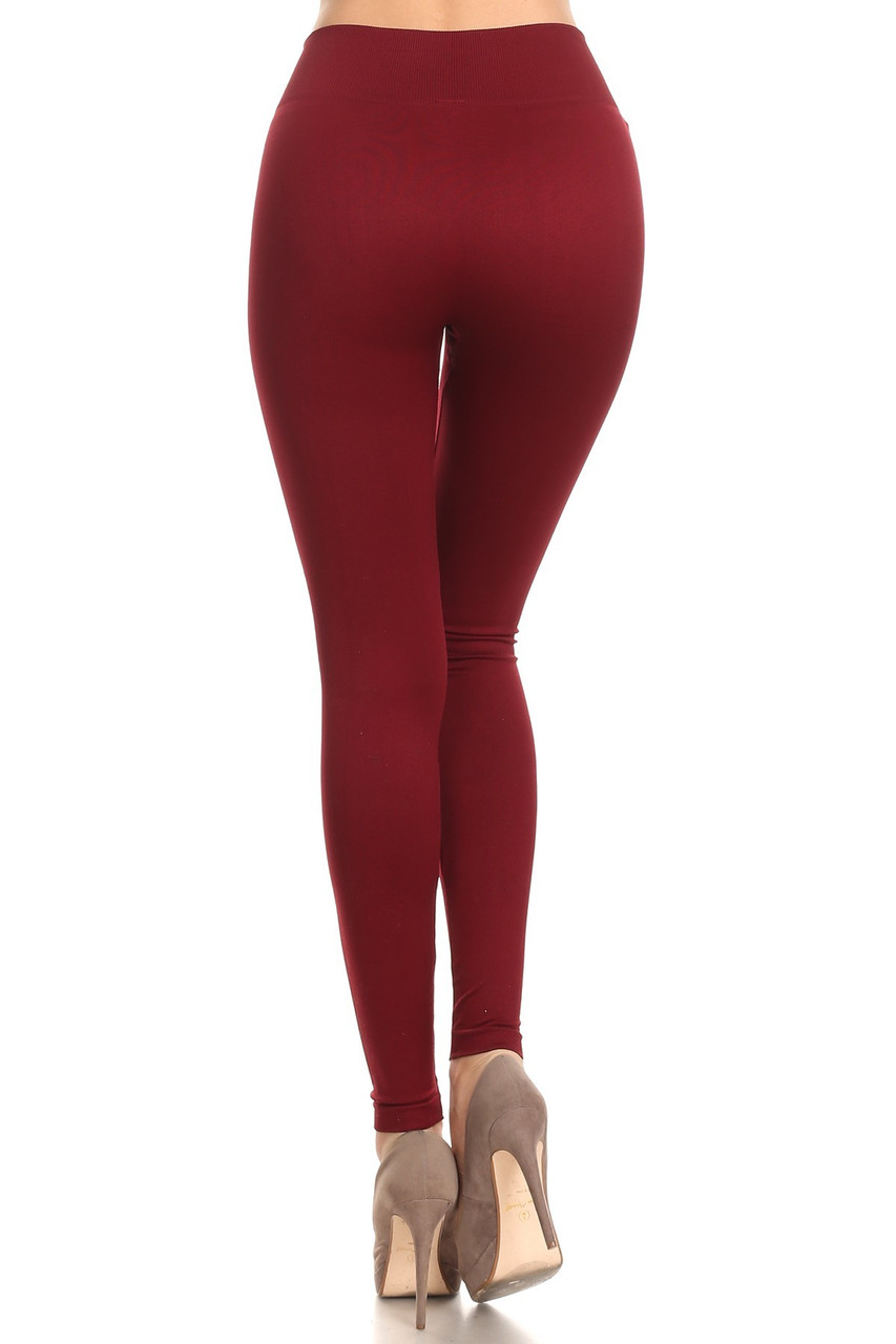 Back view image of Burgundy Extra Thick Solid Basic Leggings