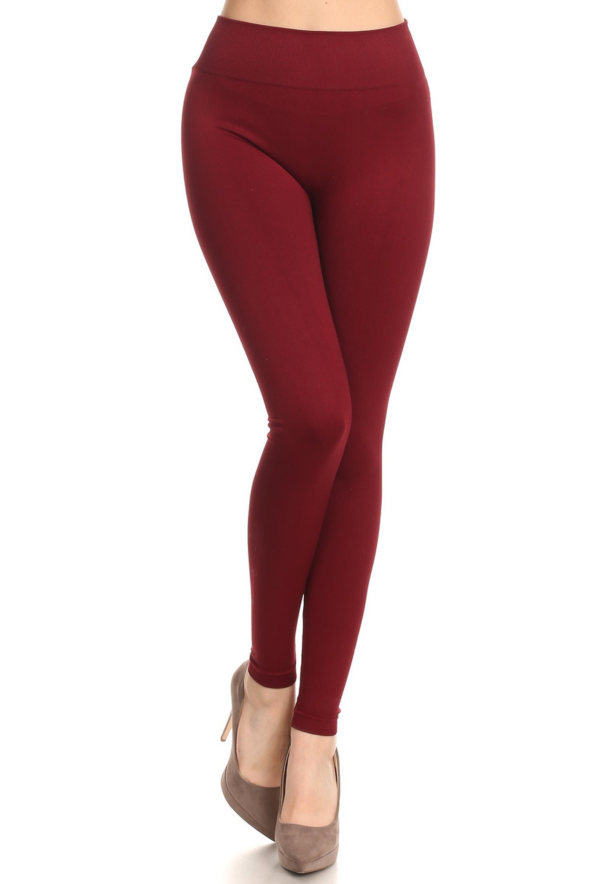 Front view image of Burgundy Extra Thick Solid Basic Leggings