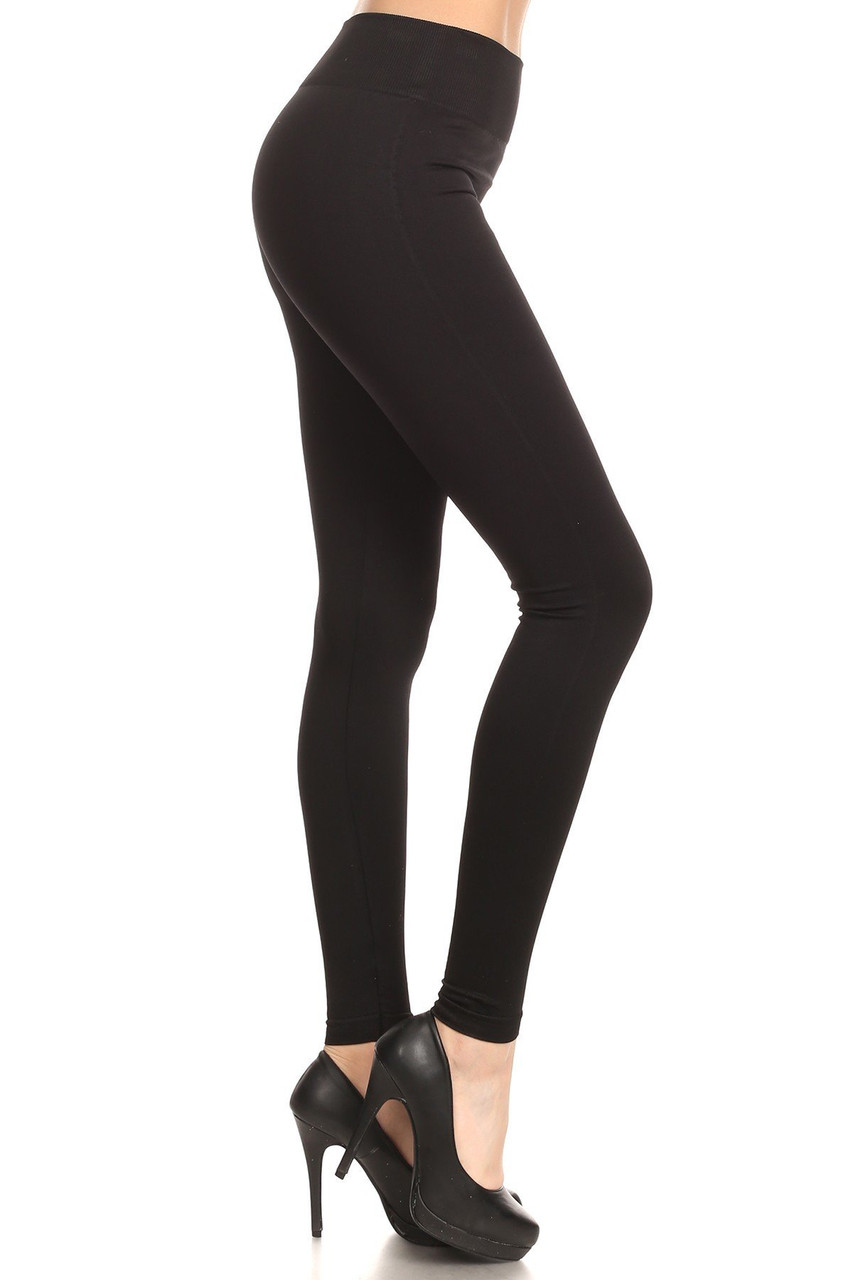 Right side view image of Black Extra Thick Solid Basic Leggings