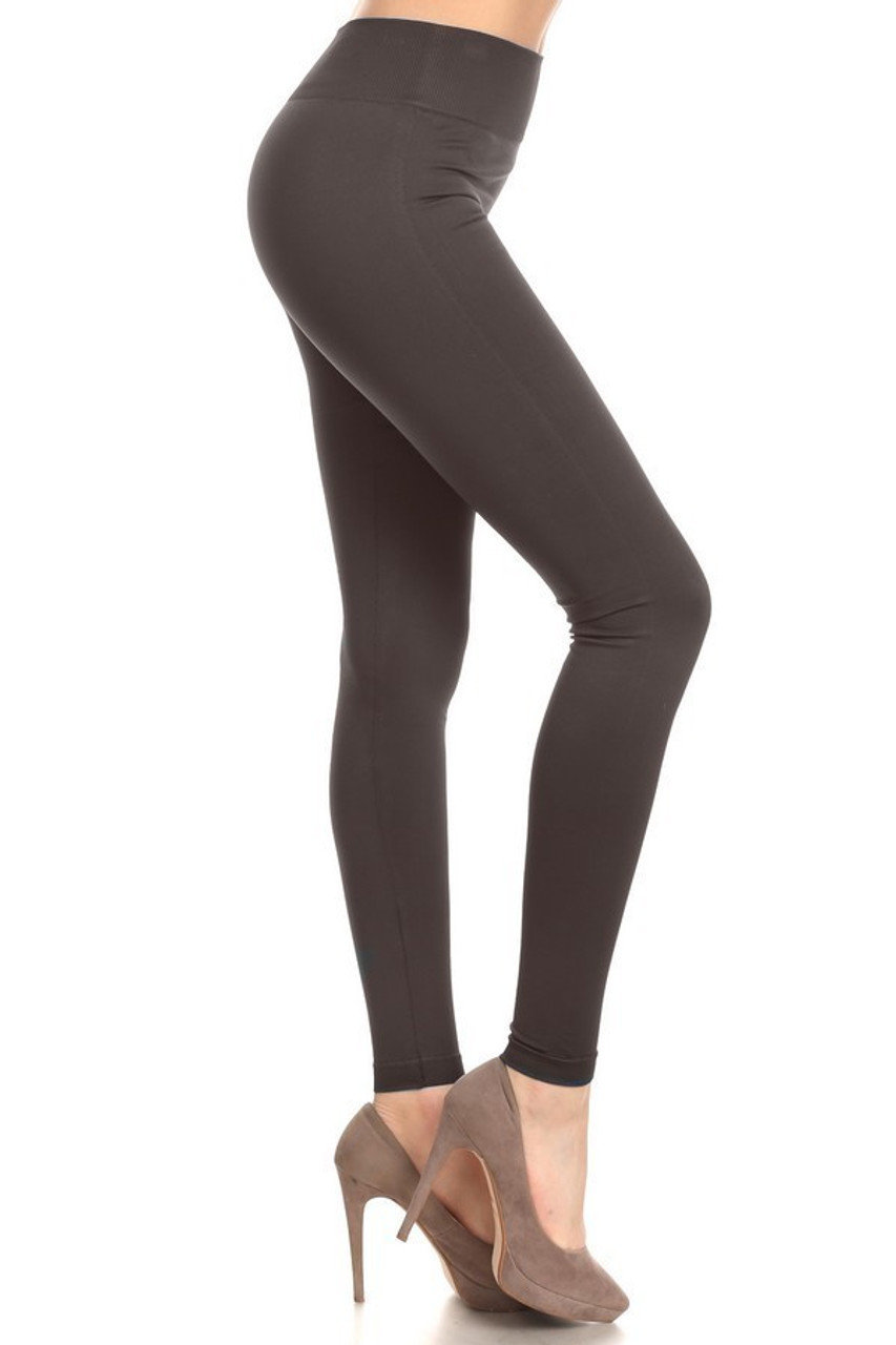 Right side view image of Charcoal Extra Thick Solid Basic Leggings