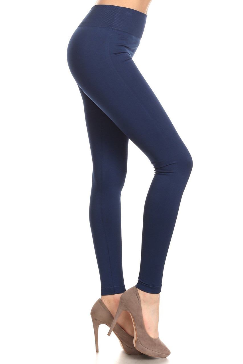Right side view image of Navy Extra Thick Solid Basic Leggings