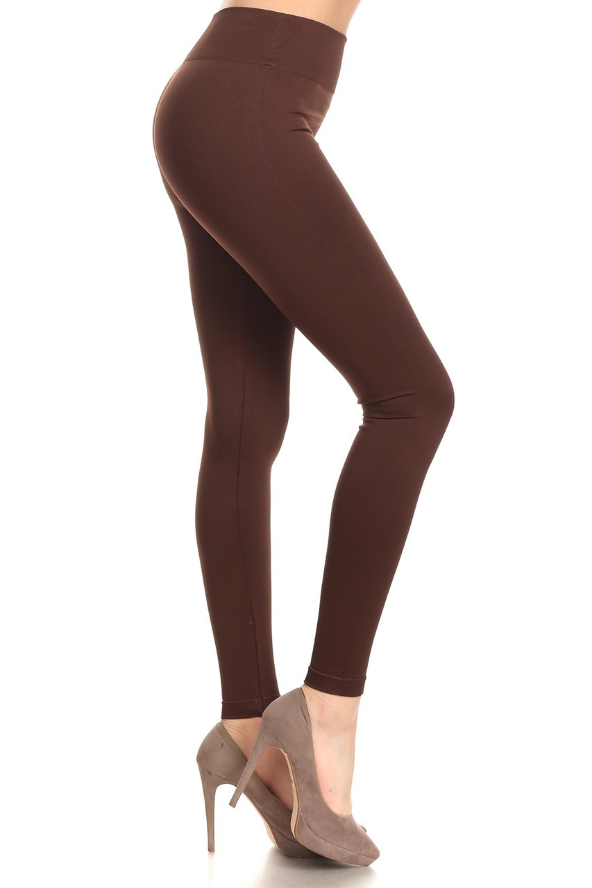 Right side view image of Brown Extra Thick Solid Basic Leggings