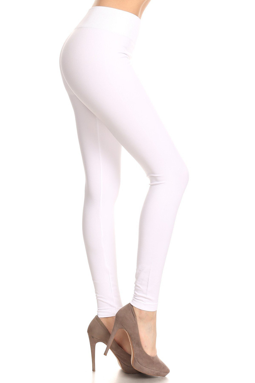Right side view image of White Extra Thick Solid Basic Leggings
