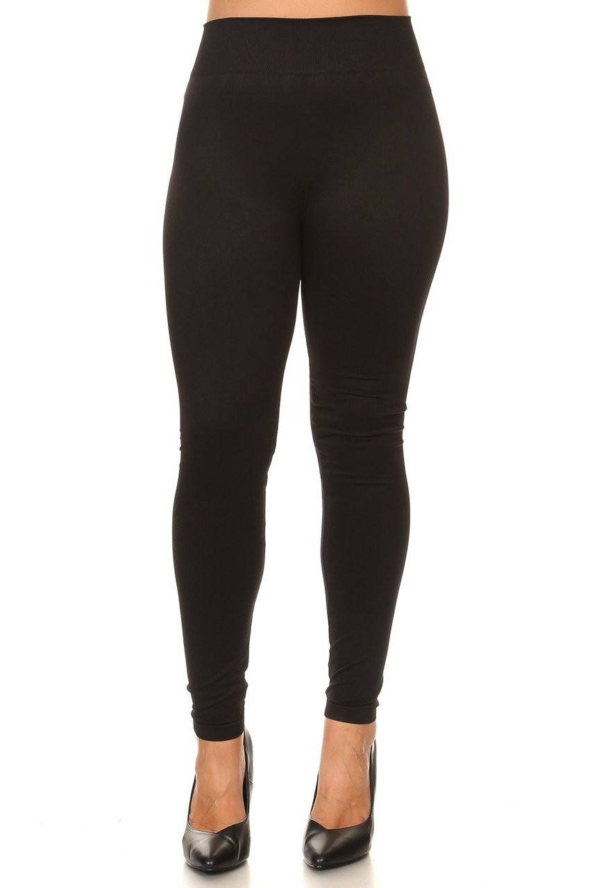 Front view image of Black Extra Thick Solid Basic Plus Size Leggings
