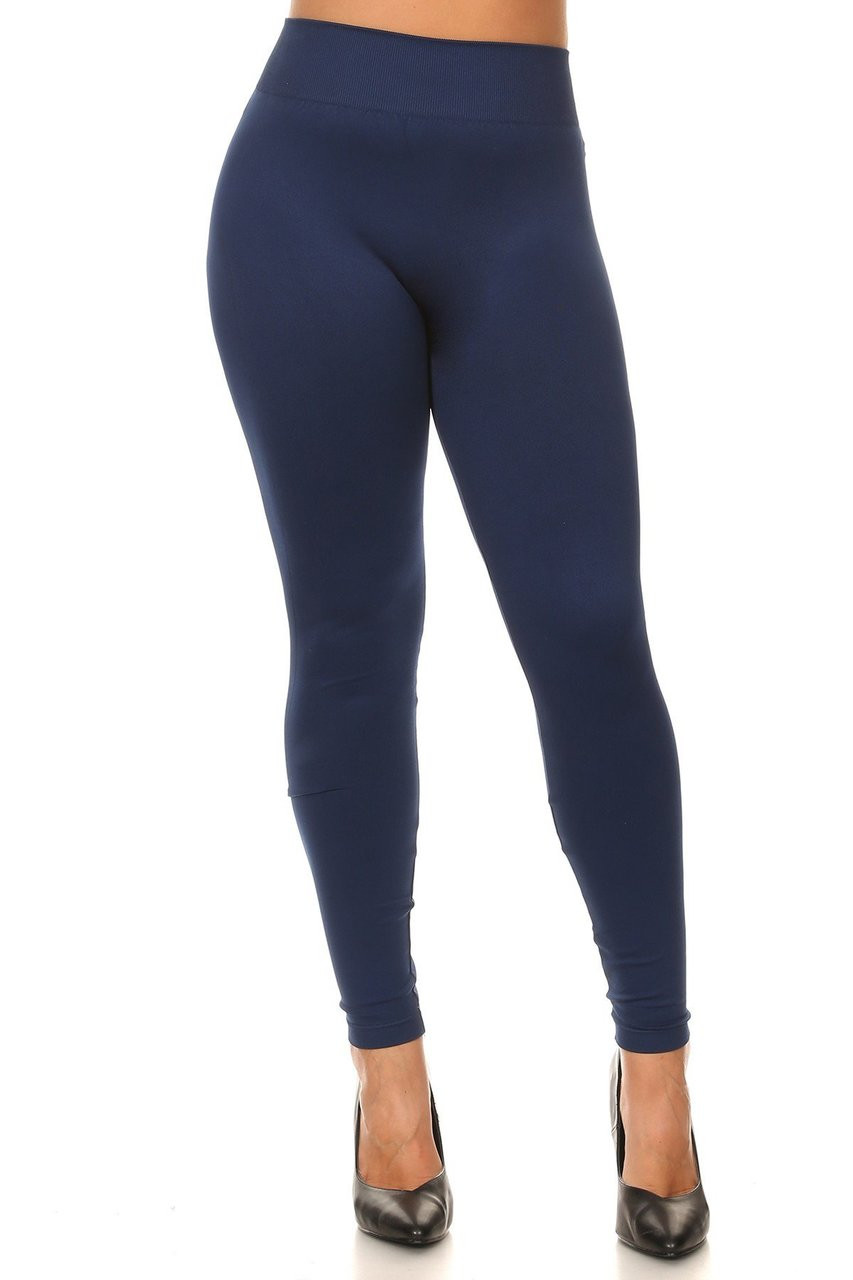 Front view image of Navy Extra Thick Solid Basic Plus Size Leggings