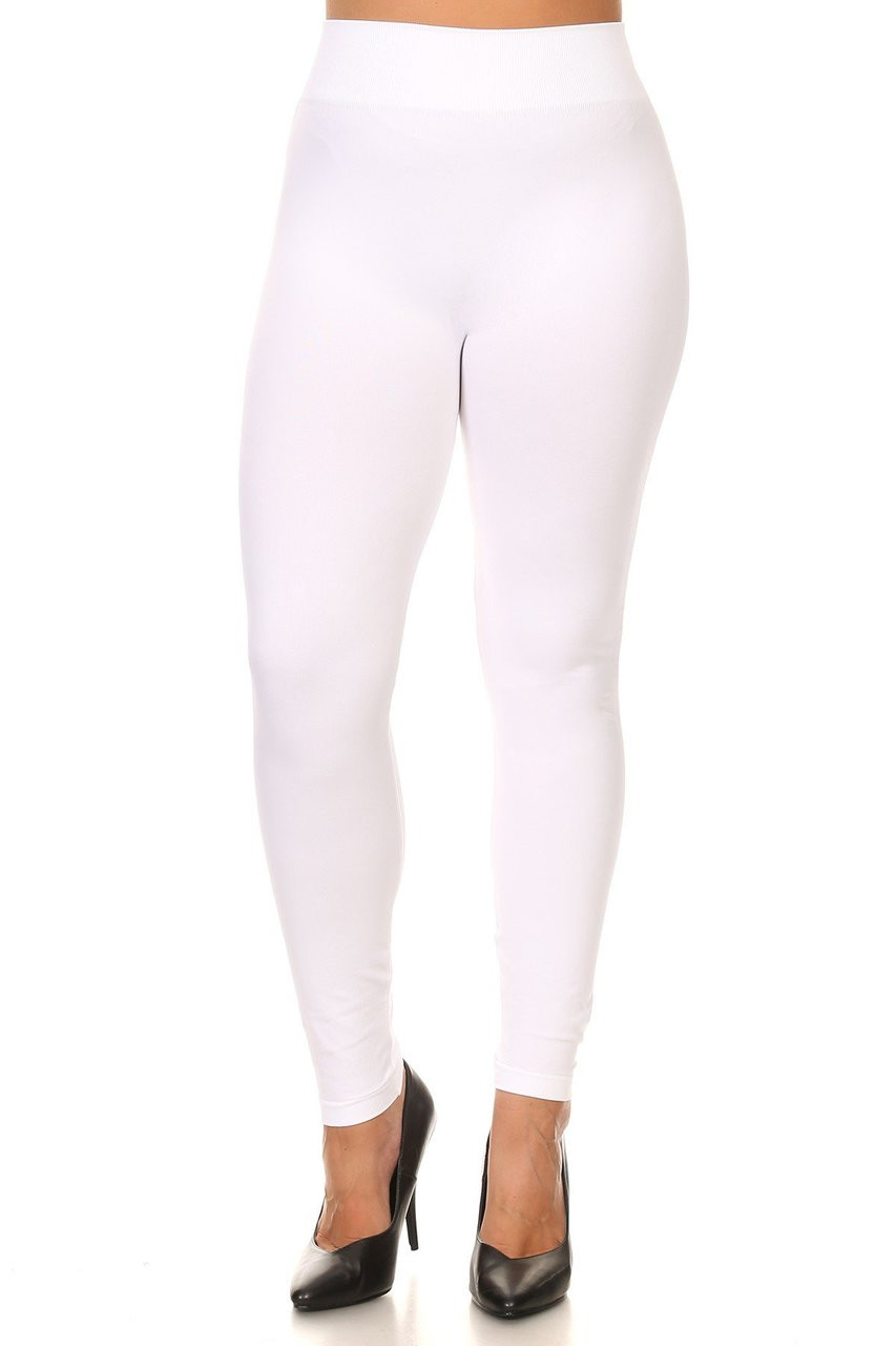 Front view image of White Extra Thick Solid Basic Plus Size Leggings